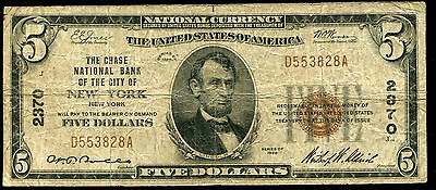 1929 $5 Chase Nb Of The City Of New York, Ny National Currency Ch. #2370