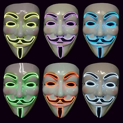EL Wire Hallewoon LED V for Vendetta Anonymous Guy Fawkes Costume Cosplay Mask