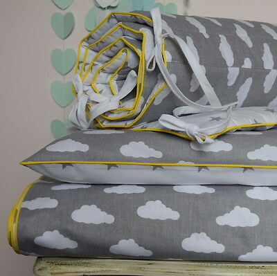 100%COTTON Cot Bed Duvet Cover Set & Bumper Simply  Grey with white CLOUDS STARS