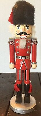 Wooden Nutcracker Soldier Fur Hat Silver Red Holiday Decoration Classic