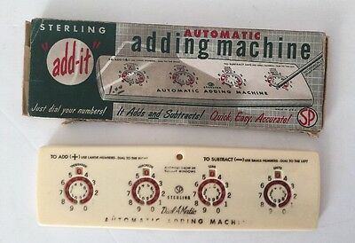 """Vintage Sterling """"add it"""" Dial-A-Matic Automatic Adding Machine No. 565 Box"""
