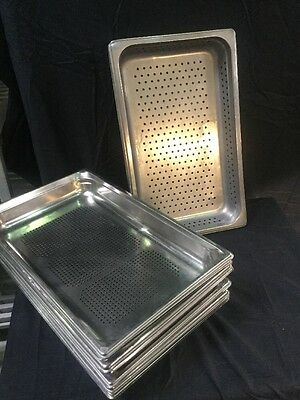 "Lot of 12 - Steam table full size perforated 2"" deep stainless Buffet pans"