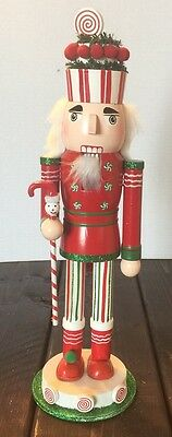 Candy Cane Red Snowman Pom Poms Wooden Nutcracker Holiday Decoration
