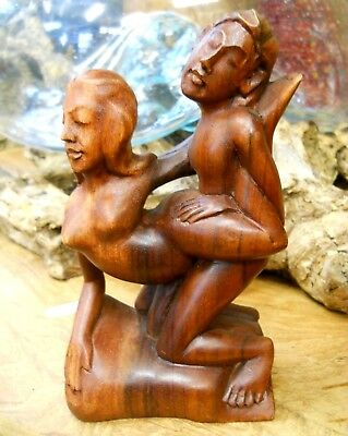 Carved Wooden Nude Erotic Abstract Statue Kamasutra 18 cm Handmade Indonesia
