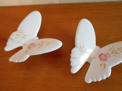 Set of 2 Porcelain Butterflies with Pink Roses Vintage Home Interiors