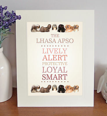 """Lhasa Apso 10"""" x 8"""" Mounted Breed Traits Print Picture Fun Novelty Gift Idea"""