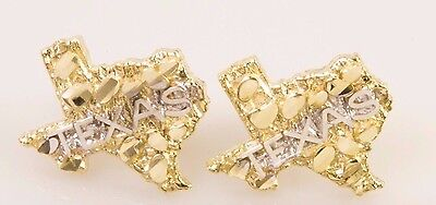 Real 10K Gold Two Tone State Of Texas Nugget Design Push Back Studs/ Earrings