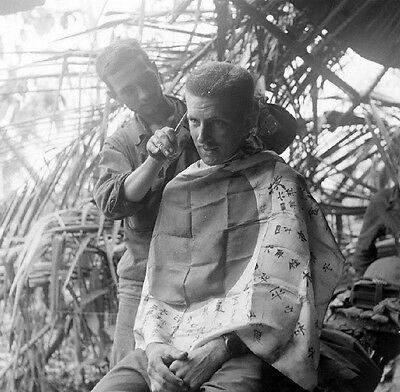 WW2 Photo WWII Australian Hair Cut  Captured Japanese Flag  World War Two /1452