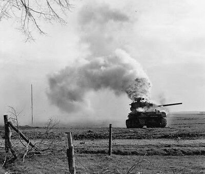 WW2 Photo WWII US Army M4 Sherman on Fire Brewing Up  World War Two / 3119