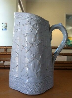 Antique Brownfield Molded Relief English Pottery Pitcher - pale blue ca. 1886