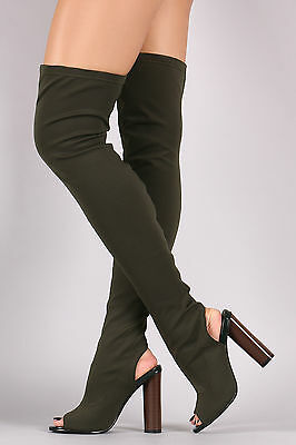 bbcc07cdb812f Stretchy Thigh High Over Knee Open Peep Toe Block Heel Pull On Boot- Olive  Green