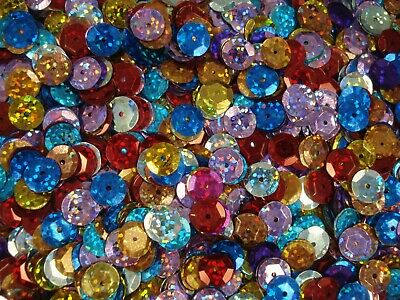 Sequins Cup 10mm Laser Mix 200g Bulk Pack Dancing Costumes Beading FREE POSTAGE