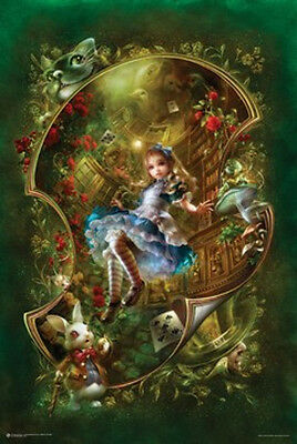 Alice in Wonderland Poster Book Art Fantasy Movie Rabbit Girl Woman Flowers New