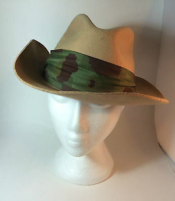 Fur Felt Hat BILTMORE  Vintage Made in Canada Size 7.5 Taupe Leather Lined