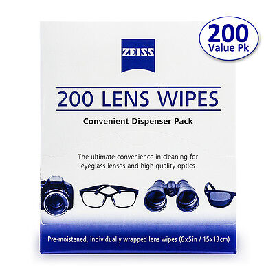 Zeiss Pre-Moistened 200 Lens Cloths Wipe Glasses Computer Camera Phone Cleaner