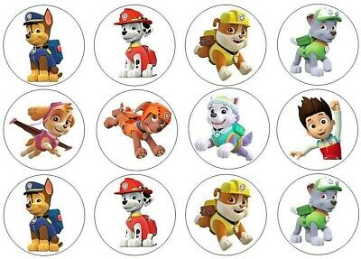 12 Paw Patrol Edible Wafer Paper Cupcake Toppers