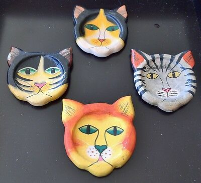 Set Of 4 Hand Painted Wood Kitty Cat Faces Coasters With Box