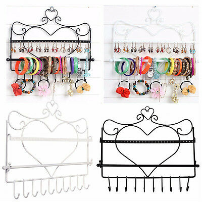 Wall Display Jewelry Earring Organizer Hanging Holder Necklace Stand Rack Holder