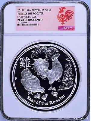 2017 Australia Lunar Year of the Rooster 1 Kilo PROOF Silver $30 Coin NGC PF 70