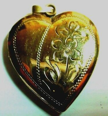 Vintage Gold Filled Heart With Flowers Engraved Locket Pendant Charm