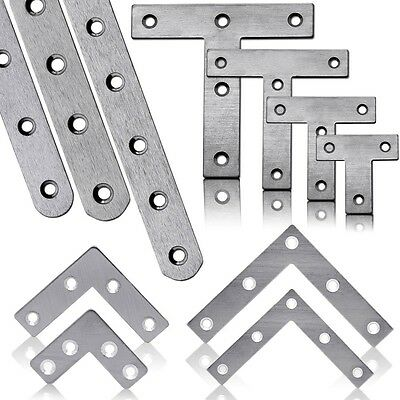 Set Stainless Steel Bracket Flat Connector Repair Perforated Fixing Plate Hinge