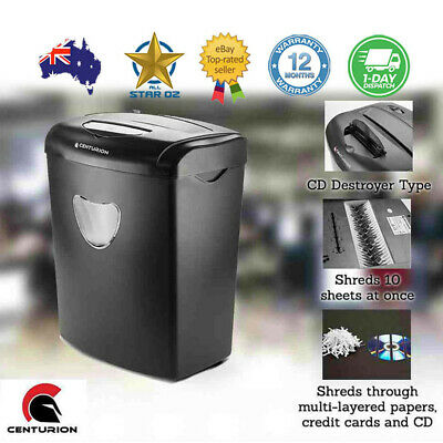 Paper Shredder Electric Cross Cut Home Office 22L 10 A4 Sheet Credit Card CD DVD