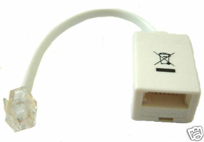 RJ11 Plug to BT Socket Adaptor with RINGING CAPACITOR