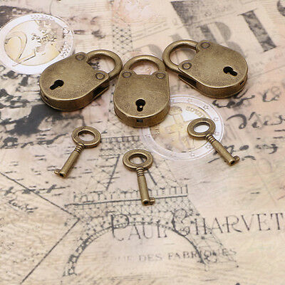 Old Vintage Archaize Antique Style Mini Padlocks Key Lock With key (Lot Of 3)