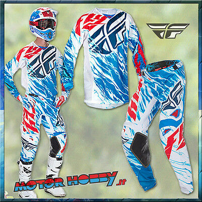 Completo Motocross Enduro Fly Kinetic Relapse White Red Blue 2017 Taglia L - 34