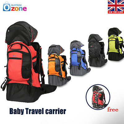 Baby Toddler Backpack Camping Hiking Child Kid Carrier w Shade Visor 3 Color