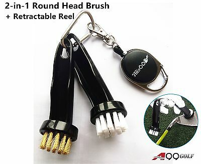 A99 Golf 2-in-1 Round Head Brush Brushes Cleaning Iron Wood + Retractable Reel