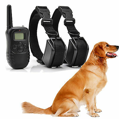 Pet Dog Training Collar Rechargeable Electric LCD 100LV Shock  For Two Collars