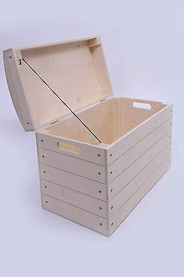 Wooden storage box, chest, blanket, toy, trunk lidded  natural wood PK360S