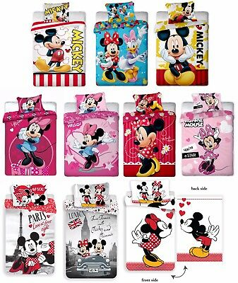 DISNEY Minnie Mouse Mickey Kid Single Duvet Cover Child Quilt Cover Bedding Set