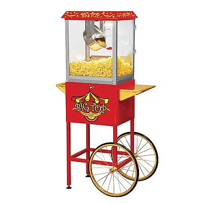 Big Top Movie Theater Style Popcorn Cart 8 OZ Storage Compartment Red BW860CR
