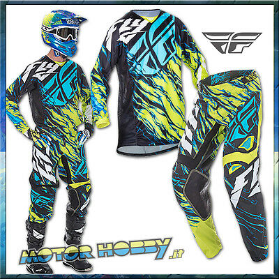 Completo Motocross Enduro Fly Kinetic Relapse Lime Blu 2017 Taglia Xl - 36