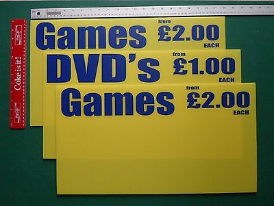 Market Trader Signs - Rigid - Waterproof - Choices - Games CDs DVDs XBox Wii PS3