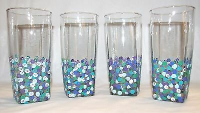 Hand Painted Glass Tumblers - Set of 4 - Multi-Colored Polka Dots