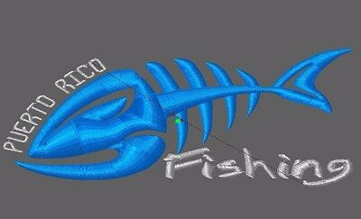 Embroidery Design digitized Puerto Rico Fishing file pes dst almost any format
