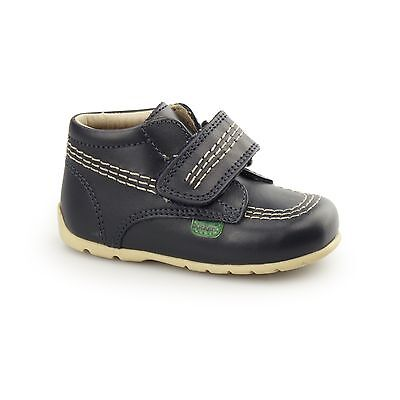 Kickers KICK HI STRAP Babies Boys Girls Touch Fastened Leather Ankle Boots Navy
