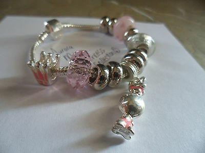 Girls Pink Candy Princess Crown Snap Clasp European Bracelet 6.5""