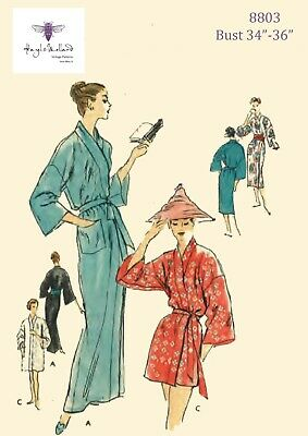 """Vintage 1950's Sewing Pattern VOGUE Oriental Robe Dressing Gown Bust 34-36"""""""