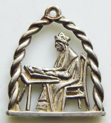 Antique St. Cecilia Sterling Silver Handmade Holy Medal Patron Saint Music Piano