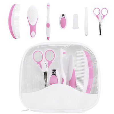 7Pcs Pink Baby Brushes Comb Nail Clipper Scissor Healthcare & Grooming Kit Gift