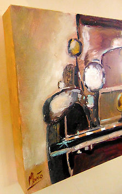 original unique oil on deep edge canvas impressionist classic vintage car