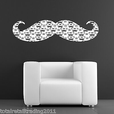 Patterned Moustache Wall Sticker - Moustache with Geek Glasses and Tasche Patter