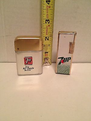 Lot of 2-Vintage 7UP Soda Advertisement Lighters