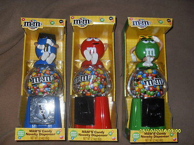 M&M's Candy Novelty Dispenser Set of 3 , Red, Blue & Green New in box