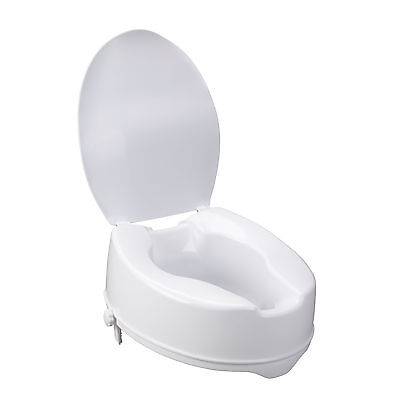 """Drive Medical 12067 6"""" Molded Pastic Raised Toilet Seat With Lid 400lb MAX"""