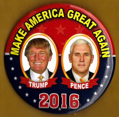 """2016 Donald Trump/Mike Pence 3""""(Large Size) - NG Slater Campaign Button(Pin 02L)"""